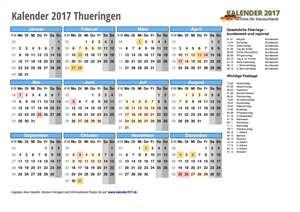 Kalender 2017 Thueringen Schulferien