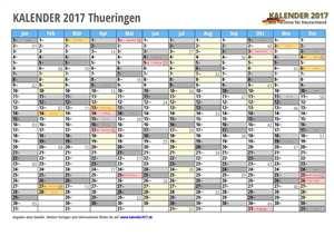 Kalender 2017 Thueringen Monate mit Schulferien