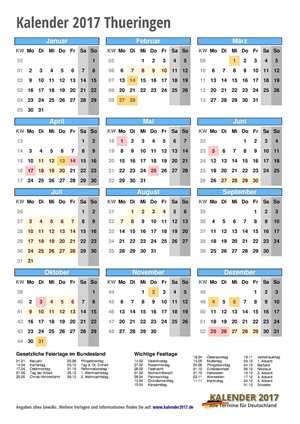 Kalender 2017 Thueringen Hochformat mit Schulferien