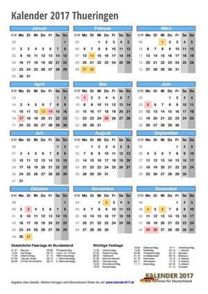 Kalender 2017 Thueringen Hochformat