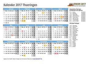 Kalender 2017 Thueringen