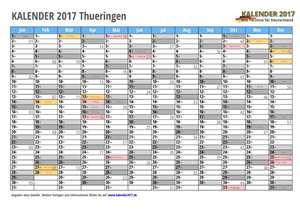 Kalender 2017 Thueringen Monate