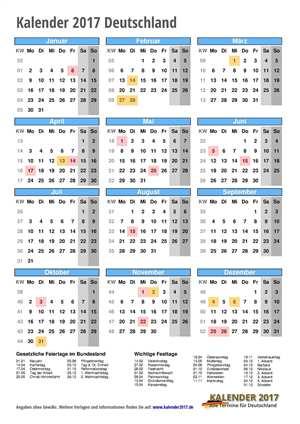 Kalender 2017 Deutschland Hochformat