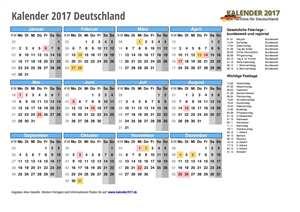 Kalender 2017 Deutschland