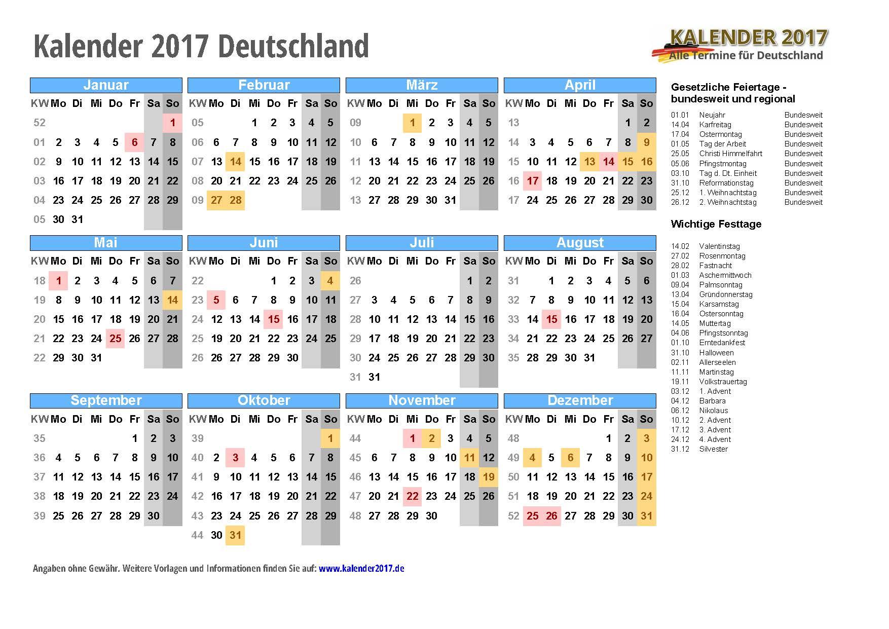 Deutschland KALENDER 2017