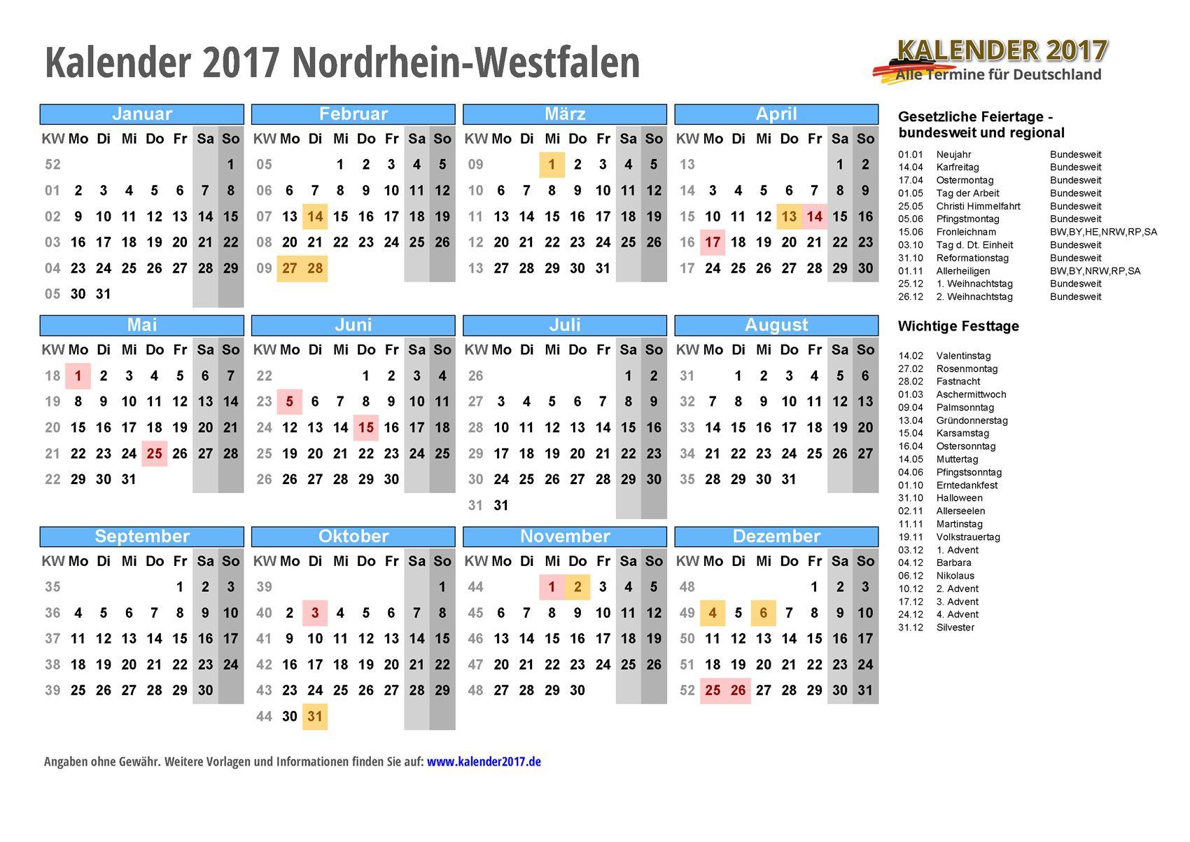 KALENDER 2017 NRW mit Feiertagen & Ferien